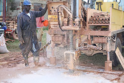 Drilling a new well in Kenya
